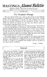 Hastings Alumni Bulletin Vol.8, No.1 (1958)